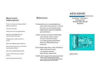 ADD/ADHD Parent Informational Brochure