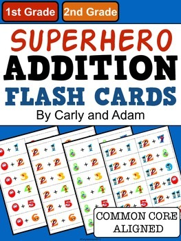 SUPERHERO Addition Flash Cards
