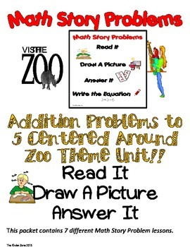 ADDITION TO 5 MATH WORD PROBLEMS ** ZOO UNIT ** READ.DRAW.