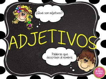 ADJECTIVE TASK CARDS IN SPANISH