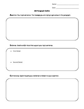 AEC Paragraph Writing Graphic Organizer