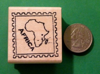 AFRICA Continent/Passort Rubber Stamp