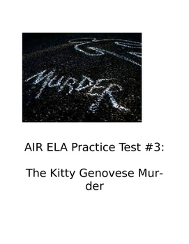 AIR ELA Practice Test #3: The Kitty Genovese Murder (Readi