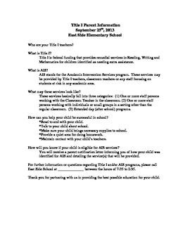AIS description sheet for parents