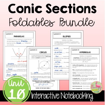 Algebra 2: Conic Sections FOLDABLES Bundle