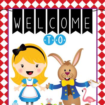 ALICE in WONDERLAND - Classroom Decor: WELCOME Banner - Me