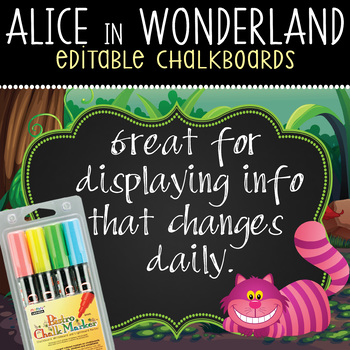 ALICE in Wonderland - Classroom Decor: editable chalkboard
