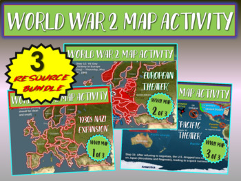 ALL 3 World War Two (WWII) Map Activities 1-NAZI EXPANSION