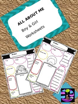 ALL ABOUT ME BACK TO SCHOOL BOY GIRL WORKSHEETS w/ SELF-PORTRAIT