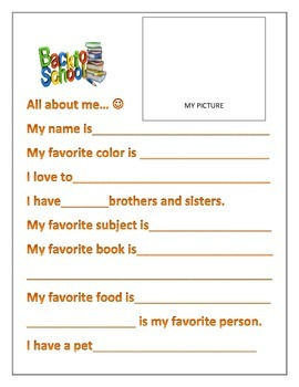 ALL ABOUT ME: STUDENT NTRODUCTION/FIRST DAY/K-5