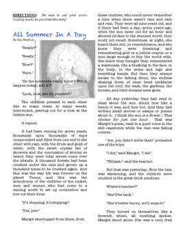 ALL SUMMER IN A DAY Ray Bradbury text short stories scienc
