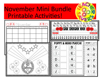 ALPHABET AND NUMBERS ACTIVITIES November Mini Bundle