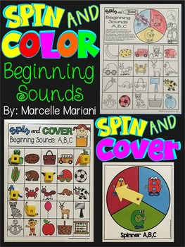 ALPHABET BEGINNING SOUNDS: SPIN & COLOR or SPIN & COVER CENTRES