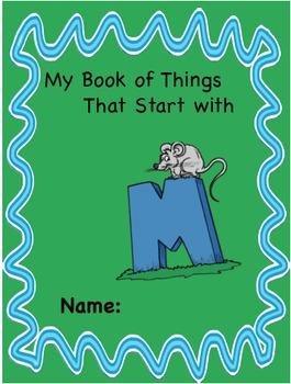 ALPHABET BOOK for LETTER M Letter-Sound-Object Recognition