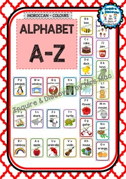 Back To School - ALPHABET CHART - A to Z - Classroom Decor
