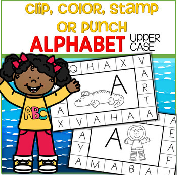 ALPHABET Upper Case - Clip, Color, Stamp or Punch Cards