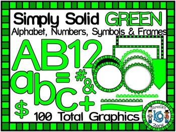 SIMPLY GREEN-ALPHABET, NUMBERS, SYMBOLS & FRAMES CLIP ART-