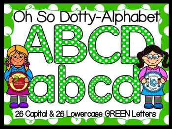 ALPHABET POLKA DOT CLIP ART LETTERS-GREEN- 52 LETTERS (CU)