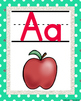 Teal Polka dot, White and Silver Glitter!  ALPHABET POSTERS