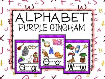 ALPHABET POSTERS: Purple Gingham Alphabet Posters