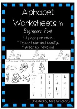 ALPHABET worksheets in BEGINNERS FONT