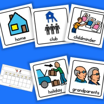 AM / PM Home / School Calendar and Cards-Boardmaker / Auti