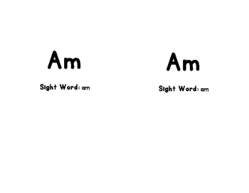 AM Sight Word Mini-Book