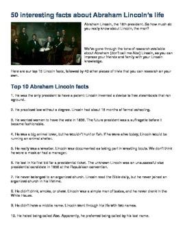 AMERICAN HISTORY - Lincoln Trivia