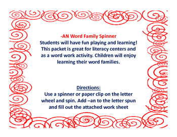 AN Word Family Spinner and Activity