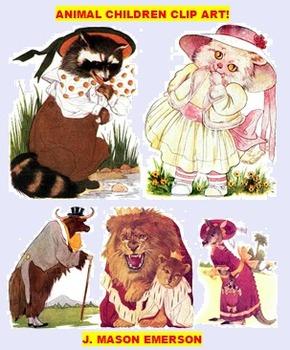 ARTS, ELEMENTARY THEMING: ANIMAL CHILDREN CLIP ART (90 pub