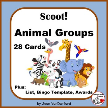 ANIMAL GROUPS | 54 Group Names | 28 Colorful Task Cards |
