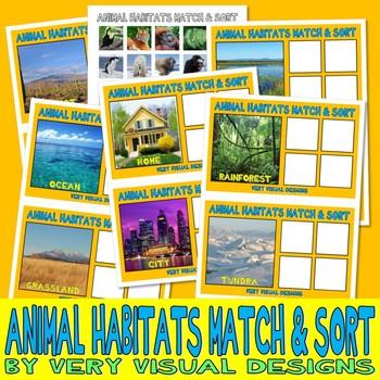 ANIMAL HABITATS MaTcH & SoRt w/ 24 PECS Cards : instant do