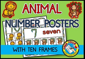 ZOO ANIMAL NUMBER POSTERS: ANIMAL TEN FRAME POSTERS: MATH