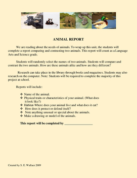 ANIMAL REPORT AND RUBRIC