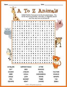 Alphabetical Animals Word Search Puzzle
