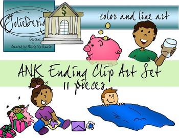 ANK Ending Phonics Clip Art Set - Color and Line Art 11 pc set