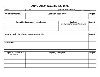 ANNOTATION ANNOTATING JOURNAL PAGE READING DEPTH COMPLEXIT