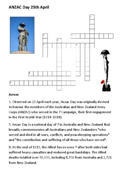ANZAC Day Crossword