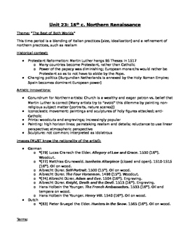 AP Art History Unit 23 (16th c. Northern Renaissance) Study Guide