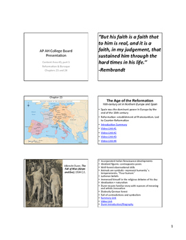AP Art History Content 3, part 3- Reformation & Baroque Notes