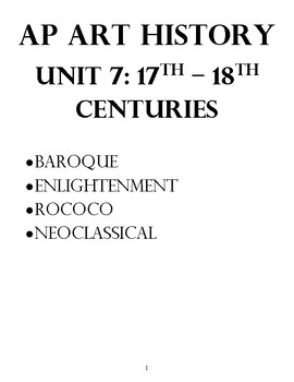 AP Art History Unit 7 Workbook for Baroque-Neoclassical, &