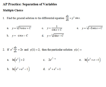 AP Calculus AP Practice Separation of Variables Differenti