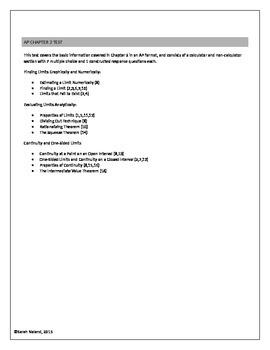 AP Calculus - Chapter 2 Test - Limits