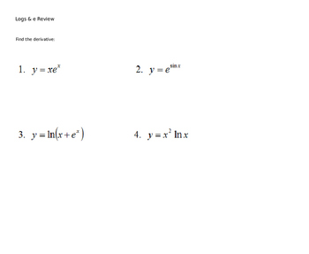 AP Calculus Natural Log and exponentials review Power Poin