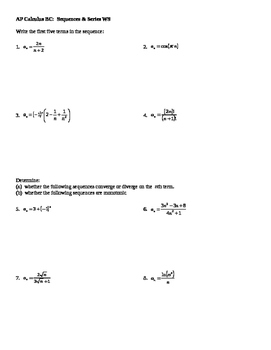 AP Calculus Sequences and Series worksheet