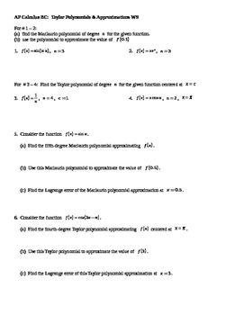 AP Calculus Taylor and Maclaurin Polynomial approximation