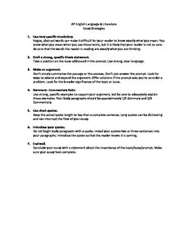 AP English Language / Literature Essay Strategies