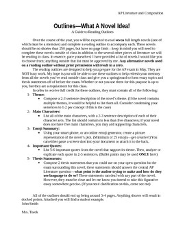 AP Literature Reading Outline--Year Long Activity