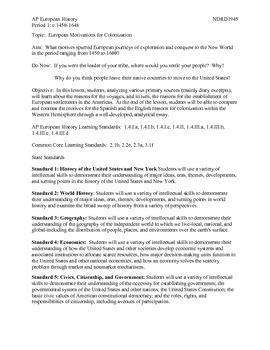 AP European History Period 1 European Motivations for Colo