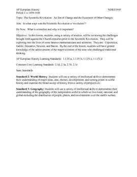 AP European History Period 1 Scientific Revolution Timelin